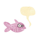 Cartoon happy fish with speech bubble Royalty Free Stock Photo
