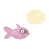Cartoon happy fish with thought bubble Stock Images