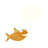 cartoon happy fish with thought bubble Royalty Free Stock Images