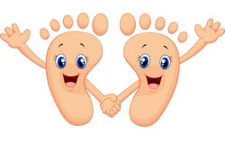 Cartoon happy foot holding hands royalty free illustration