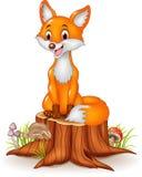 Cartoon happy fox sitting on tree stump Royalty Free Stock Photography