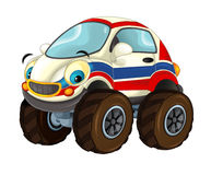 Cartoon happy and funny ambulance car looking like off road vehicle - isolated Royalty Free Stock Photography