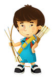 Cartoon happy and funny boy - with bow and arrows - archer - isolated Royalty Free Stock Photos