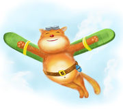 Cartoon happy funny cat flies in sky. illustration Royalty Free Stock Image