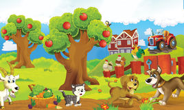 Cartoon happy and funny colorful farm scene - animals on the stage Royalty Free Stock Photos