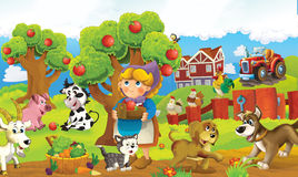 Cartoon happy and funny colorful farm scene - animals on the stage Royalty Free Stock Image