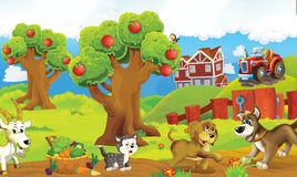 Cartoon happy and funny colorful farm scene - with different animals on the stage Stock Photo