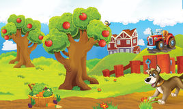 Cartoon happy and funny colorful farm scene - with dog on the stage Royalty Free Stock Photos