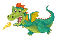 Cartoon happy and funny dragon isolated Royalty Free Stock Image