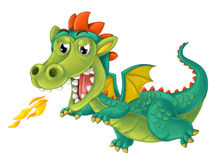 Cartoon happy and funny dragon isolated royalty free illustration