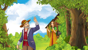 Cartoon happy and funny farm scene with father waving for goodbye to daughter - going somewhere. Happy and funny cartoon child - isolated - illustration for royalty free illustration