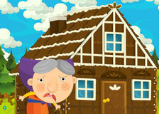 Cartoon happy and funny farm scene with older woman Stock Photography