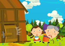 Cartoon happy and funny farm scene with older woman and young girl Royalty Free Stock Photo
