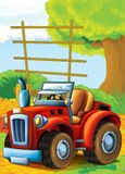 Cartoon happy and funny farm scene with tractor - car for different tasks Stock Image