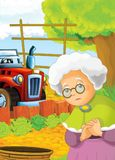 Cartoon happy and funny farm scene with tractor - car for different tasks Royalty Free Stock Image