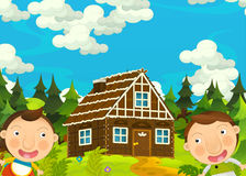 Cartoon happy and funny farm scene with young pair of kids - brother and sister Stock Image