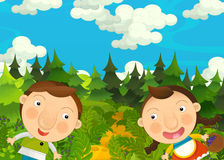 Cartoon happy and funny farm scene with young pair of kids - brother and sister Stock Images