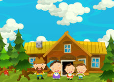 Cartoon happy and funny farm scene with young pair of kids - brother and sister Royalty Free Stock Photo