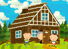 Cartoon happy and funny farm scene with young pair of kids - brother and sister Stock Photography