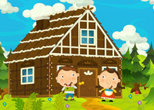 Cartoon happy and funny farm scene with young pair of kids - brother and sister Royalty Free Stock Photos