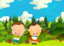 Cartoon happy and funny farm scene with young pair of kids - brother and sister Stock Photos