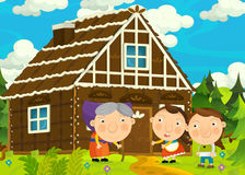 Cartoon happy and funny farm scene with young pair of kids - brother and sister Royalty Free Stock Photography