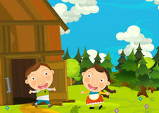 Cartoon happy and funny farm scene with young pair of kids - brother and sister Royalty Free Stock Images