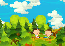 Cartoon happy and funny farm scene with young pair of kids - brother and sister Stock Photo