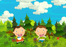 Cartoon happy and funny farm scene with young pair of kids - brother and sister Royalty Free Stock Image