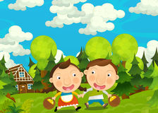 Cartoon happy and funny farm scene with young pair of kids and parents- brother and sister Royalty Free Stock Photos