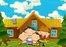 Cartoon happy and funny farm scene with young pair of kids and parents- brother and sister Royalty Free Stock Images