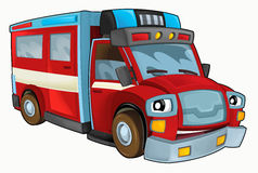 Cartoon happy and funny fire truck - isolated background. Beautiful and colorful illustration for the children - for different usage Stock Images