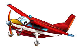 Cartoon happy and funny fireman plane  Stock Images