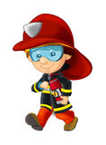Cartoon happy and funny fireman walking with extinguisher - isolated Royalty Free Stock Images