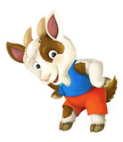 Cartoon happy and funny goat -  background - illustration for children Royalty Free Stock Image