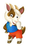 Cartoon happy and funny goat -  background - illustration for children Stock Photography