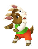 Cartoon happy and funny goat -  background Stock Photography