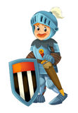 Cartoon happy and funny knight - isolated Royalty Free Stock Photography