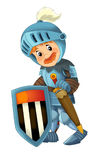 Cartoon happy and funny knight - isolated Stock Image