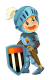 Cartoon happy and funny knight - isolated Stock Photo
