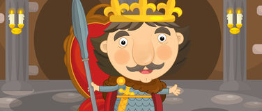 Cartoon happy and funny knight or king in the castle room with throne Royalty Free Stock Photos