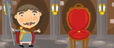 Cartoon happy and funny knight or king in the castle room with throne Stock Photography