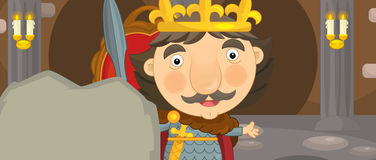 Cartoon happy and funny knight or king in the castle room with throne Royalty Free Stock Photography