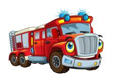 Cartoon happy and funny looking fireman bus or truck smiling stock illustration