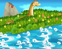 Cartoon happy and funny nature scene - diplodocus Royalty Free Stock Photos