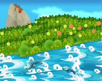 Cartoon happy and funny nature scene - with swimming fishes Royalty Free Stock Image
