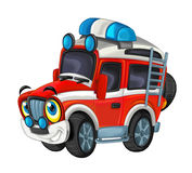 Cartoon happy and funny off road fire fighter truck / smiling vehicle Stock Photography