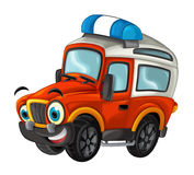 Cartoon happy and funny off road fire truck / smiling vehicle Royalty Free Stock Photo