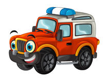 Cartoon happy and funny off road fire truck / vehicle Stock Photo