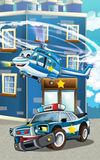 Cartoon happy and funny police car and helicopter Stock Image